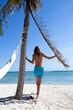 femme sous un cocotier qui marche sur une belle plage