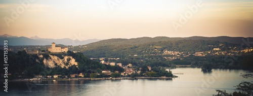 Fotografija  Rocca di Angera castle  aerial Lake Maggiore at sunset Lombardy region Italy