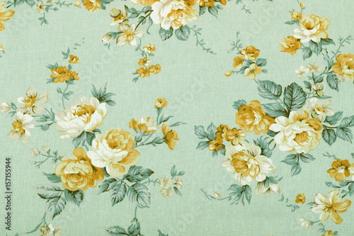 Foto auf AluDibond Vintage Blumen vintage style of tapestry flowers fabric pattern background