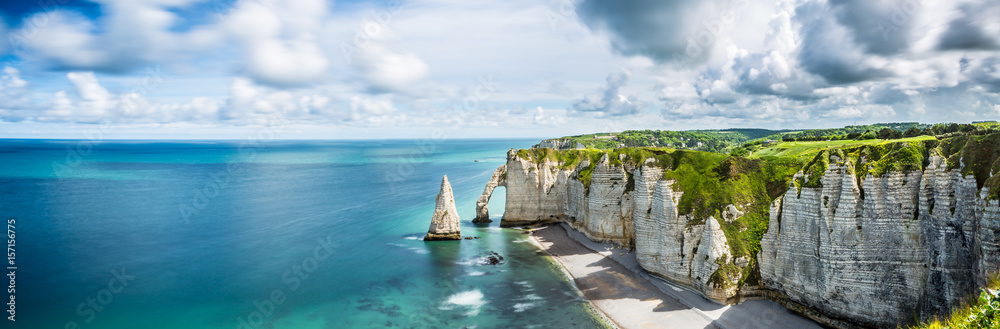 Fototapety, obrazy: Panorama in Etretat/France alabaster coast