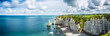 canvas print picture - Panorama in Etretat/France alabaster coast