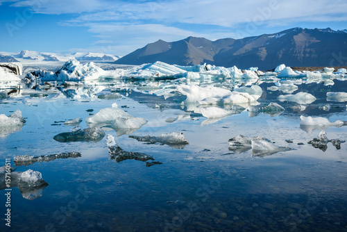 Poster Glaciers view of icebergs in glacier lagoon, Iceland, global warming concept