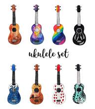Watercolor Ukulele Set. Hawaiian Guitars On White Isolated Background