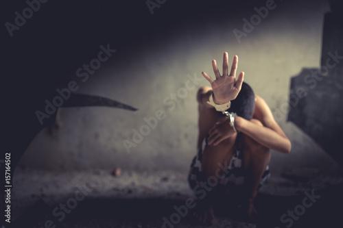 Foto  Human trafficking ,Stop abusing violence.