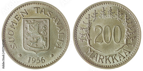 Valokuva  200 markkaa 1956 coin isolated on white background, Finland