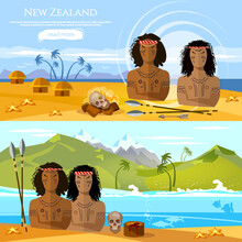 New Zealand Banners. People Of Maori, Tradition And Culture New Zealand. Mountains And Beach Landscape, Natives. Village Of Aboriginals Maori Of New Zealand