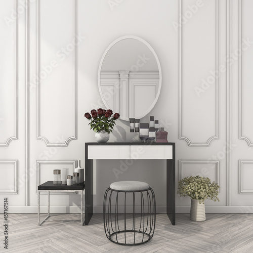Foto 3d rendering classic white room with make up table