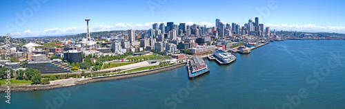 Photo Seattle Downtown Elliott Bay Waterfront Panoramic