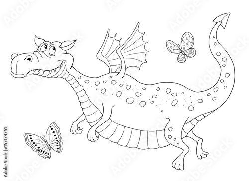 A cute dragon. Fairy tale. Coloring page. Illustration for ...