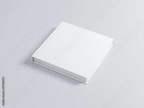 Fotografie, Obraz  White Book Mockup with textured hard cover, square. 3d rendering
