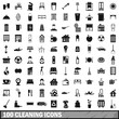 100 cleaning icons set, simple style