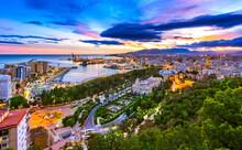Cityscape Of Malaga, Andalusia, Spain