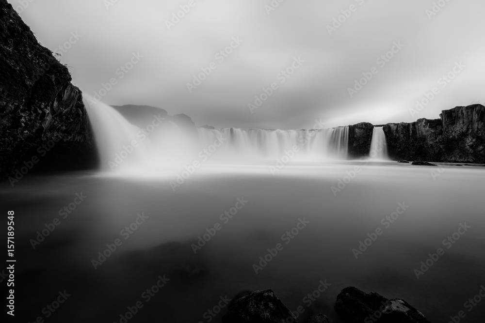 Fototapeta Godafoss waterfall in Iceland in black and white