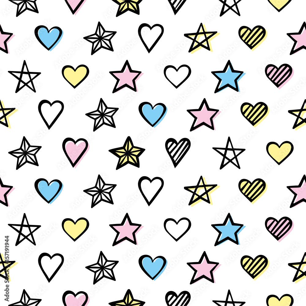 Ręcznie rysowane wzór z serca i gwiazdy <span>plik: #157191944 | autor: stockaholic</span>
