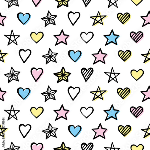 Ręcznie rysowane wzór z serca i gwiazdy
