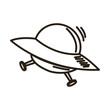 Ufo spaceship futurist symbol icon in cartoon style vector illustration