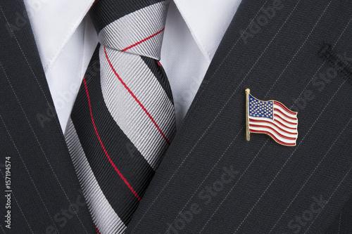 Valokuva  Politican wearing lapel pin