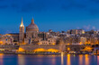Valletta, Malta - Blue hour at the famous St.Paul's Cathedral and the city of Valletta