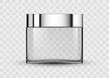 Glass Transparent Jar For Cosmetic Cream. 3d Transparent Realistic Cosmetic Package Icon Empty Tubes On Transparent Background Vector Illustration. Cosmetic Package For Cream.