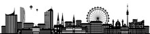 Wien Skyline Panorama Mit Riesenrad Und Stephansdom Silhouette