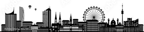 Fototapeta premium Panorama panoramę Wiednia z diabelskim młynem i sylwetka katedry św