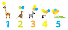 Wild Animals With Balloons And Numbers 1,2,3,4,5