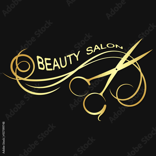 Plakat Salon piękności złoty sylwetka