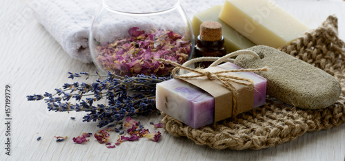 Fotografie, Obraz  Handmade Soap with bath and spa accessories on white wood background