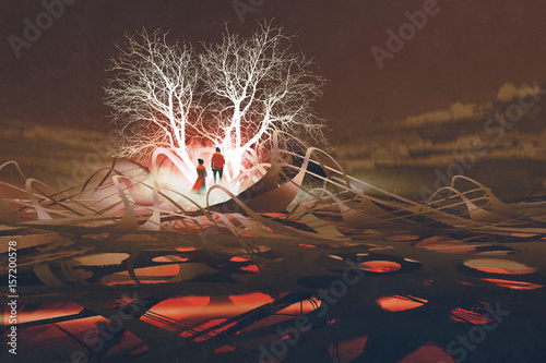 the couple standing in front of glowing trees in abstract landscape with digital art style, illustration painting