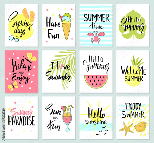 Set Of Colorful Cute Hand Drawn Summer Cards Background Holiday