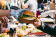 canvas print picture - Delicious fresh burger on food market, ready to eat. Close-up