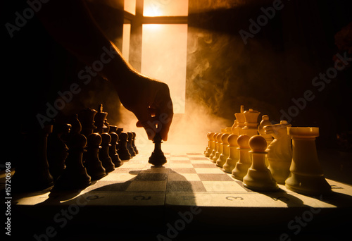 Fotografiet  chess board game concept of business ideas and competition and strategy ideas concep