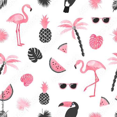 Fotografering Seamless tropical trendy pattern with watercolor flamingo, watermelon slices and palm leaves