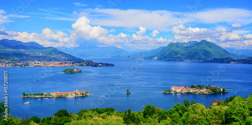 Fotografie, Obraz  Panoramic view of Lago Maggiore lake, Italy