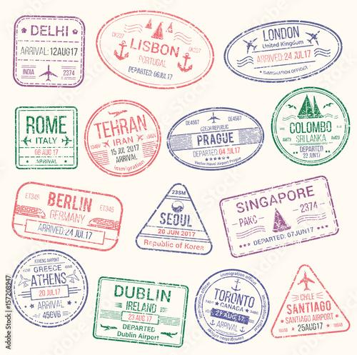 Fotografía  Passport stamp, travel visa sign icon set