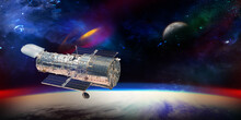 Hubble Telescope With Stars An...