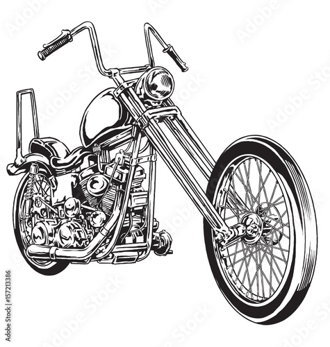 Fotografie, Obraz Hand drawn and inked vintage American chopper motorcycle