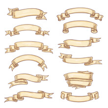 Vector Icons Old Paper Roll Or Manuscript Ribbon