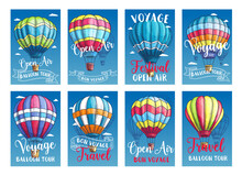 Vector Posters Or Cards Hot Air Balloon Trip Tour