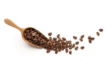 Coffee Beans On Wooden Scoop I...