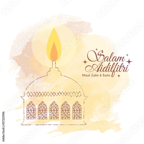 Hari Raya Aidilfitri Greeting Card Template Design Hand