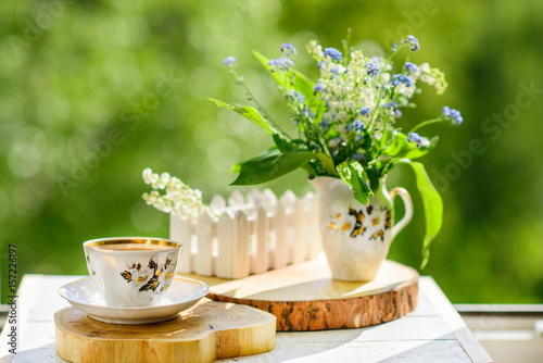 Wall Murals Lily of the valley coffee, wood, lily of the valley