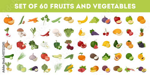 Poster de jardin Cuisine Fruits and vegetables.