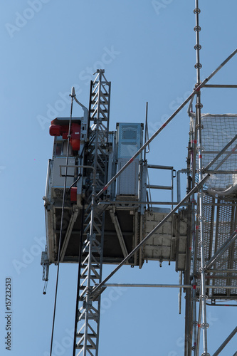 Construction of new building  Scissor lift - Buy this stock photo