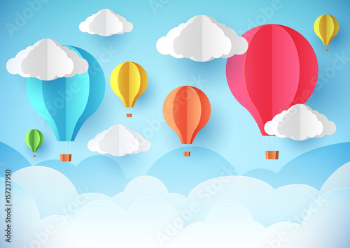 Photo sur Aluminium Piscine Air balloons