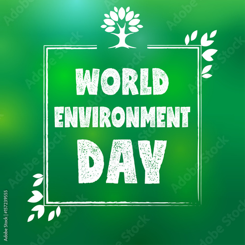 Papiers peints Affiche vintage World environment day frame tree and leaf. World environment day lettering card on green blurred background. Vector illustration