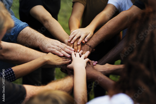 Group of people holding hand assemble togetherness Wallpaper Mural