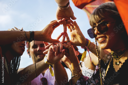 Fototapety, obrazy: Friends Making Hands as Peace Sign Together