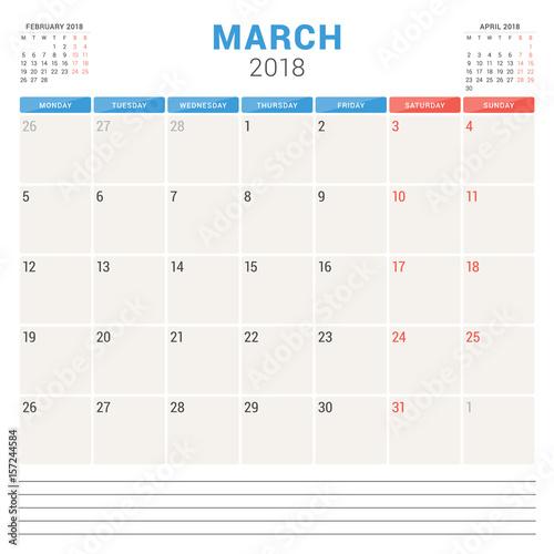 Fototapeta March 2018. Calendar planner vector design template. Week starts on Monday. Stationery design obraz na płótnie