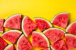 canvas print picture - Beautiful pattern with fresh watermelon slices on yellow bright background. Top View. Copy Space.